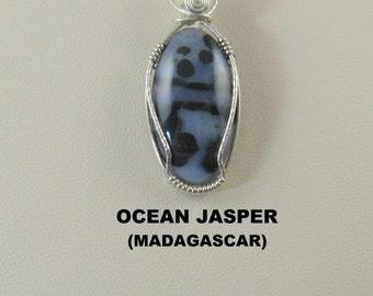 Black Ocean Jasper Oval Designer Cabochon Wire Wrapped Pendant.