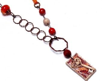 Orange Necklace, Art Bead Necklace, Skeleton Key, Shabby Chic, OOAK Necklace, Tangerine