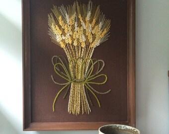 Fantastic LARGE Mid Century Wheat Crewel Embroidery