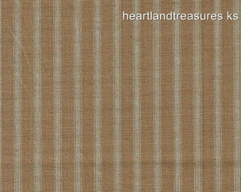 Dunroven House H-86 Primitive Style Homespun Wheat Ticking Fabric   1/2 Yard Cut Off The Bolt