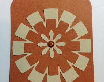 8 Orange and Brown FALL Tags Birthday Cards Paper Scrapbook Gifts & More