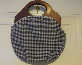Blue Gingham Bermuda Bag Reversible Solid Navy Free Shipping