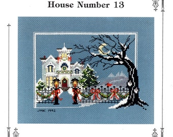 Victorian House Number 13 Christmas White Mansion Snow Covered Tree Fence Lamppost Counted Cross Stitch Embroidery Craft Pattern Leaflet