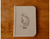 Pocket Size Bird Journal  - Beige Leather Notebook - Blank book - Field Note Diary - Recycled Paper - Partridge