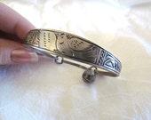 Vintage Hand Made Incised Bird Metal Bracelet