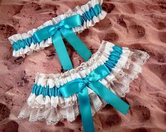 Turquoise Blue Ribbon Ivory Lace Bridal Wedding Garter Toss Set