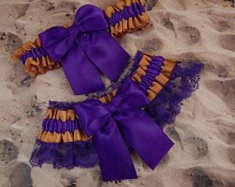 Old Gold Satin Purple Lace Wedding Bridal Garter Toss Set