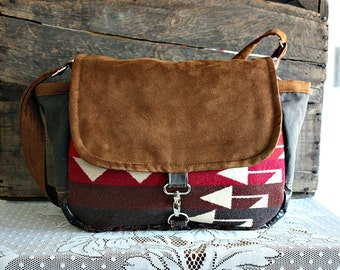 Camera bag /Messenger made with Oregon Fabric & faux leather --Ready To Ship--