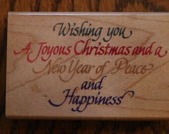 1996 Retired Stampendous Christmas Wish rubber stamp wood mounted
