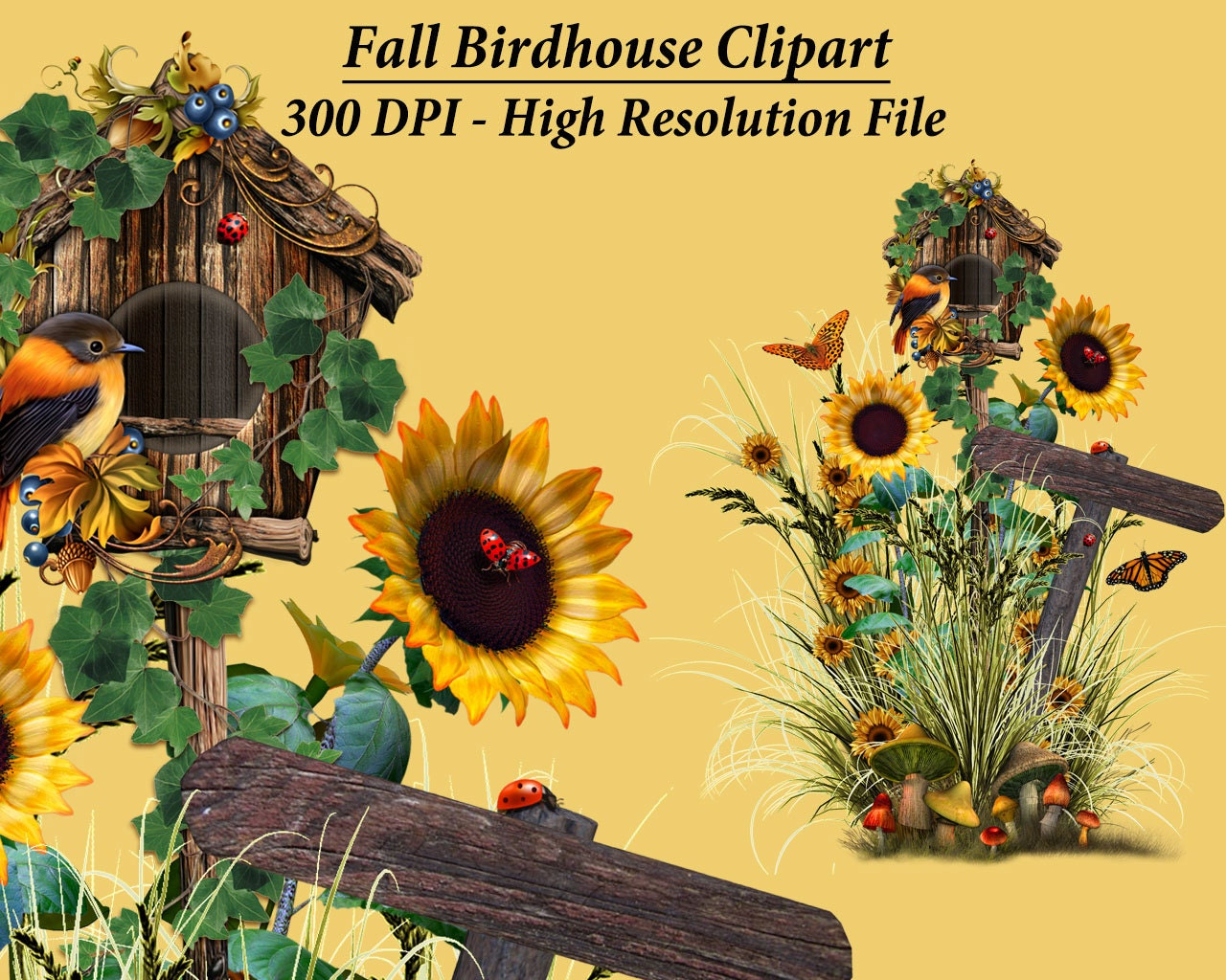 Fall Birdhouse Clipart, Sunflower Bird Clipart, Fall Clip ...