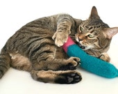 Organic Catnip Toy Wool Felt Large Kicker Hand Knitted Felted For Cats Turquoise Blue Pink Pets