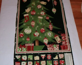 Sewing Panel Christmas Advent Calendar Treat Pockets Count Down Banner Fabric craft show Bazaar Supply Wall Hanging Cheater Quilt Holiday