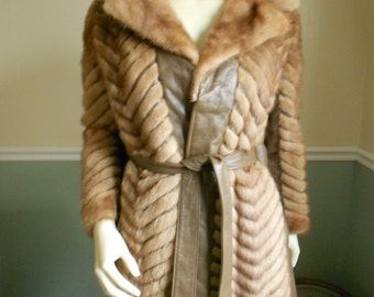 Chevron Mink Fur Jacket  /  Mink Short Coat / 1950s