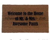 SALE AWESOME Welcome to the Home of Mr & Mrs Awesome pants™ funny Novelty doormat