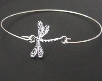 Dragonfly Bangle Bracelet,  Dragonfly Bracelet, Sterling Silver, Jewelry, Friendship Bracelet, Gift