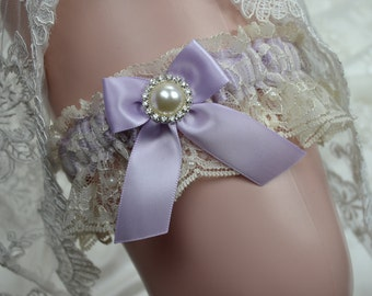 Wedding Toss Garter / Lavender  And Ivory Lace Toss Garter /Toss Garter /Bridal garter