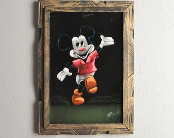 Vintage Disney Mickey Mouse 80s Japanese Velvet Painting