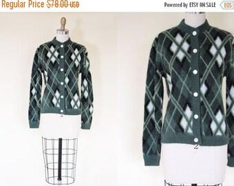 ON SALE 1950s Sweater - Vintage 50s Argyle Cardigan - Kurt Fuzzy Teal Olive Green Arrow Mohair Cardigan - Unplugged Sweater