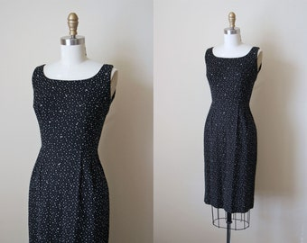 50s Dress - Vintage 1950s Cocktail Dress - Black White Polka Dot Designer Party Dress w Rhinestones S - Paved in Diamonds Dress