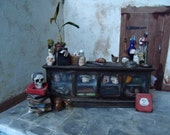 1/12th scale Miniature display case Witch, Wizard, Dolls House, Spooky, RESERVED for Suzanne