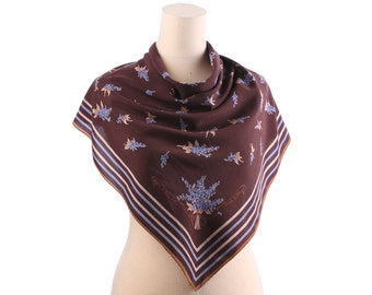 FLORAL SILK Crepe Scarf 70s Vintage Shawl Forget-me-not Flowers Print BOHEMIAN Brown Blue Rolled Edges Hippie Boho Gift Idea