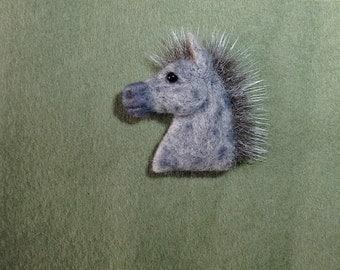 Needle felted dapple horse pin brooch