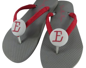 Bridesmaid Flip Flops - Gray & Cranberry Red flat sandals- or choose any colors and sizes, wedges, ivory - bridal party, bride- all sizes