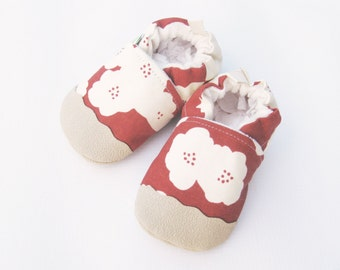 Organic Vegan Lightweight Canvas Poppies in Rust / non-slip soft sole baby shoes / made to order / babies toddlers