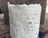 Luminarie in white - orchid pot - white organic handmade by Christiane Barbato