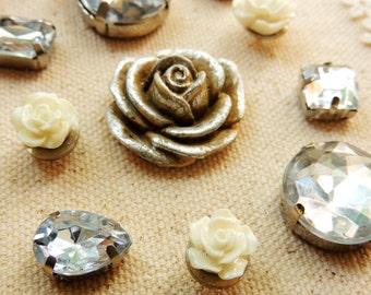 PUSH PINS Pushpins Thumbtacks Decorative Thumb Tack Flower Rhinestone Gem Diamond Jeweled Bling Office Supplies Cubicle Decor Unique Gift