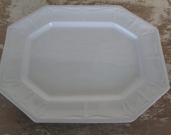 White Ironstone Platter Rectangle Ironstone Platter Embossed Pattern Ironstone Country Cottage Farm House Prairie Peasant J Clement & Sons