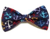 Anchors Navy Clip on Bow Tie - Hair Clip - Blue Cat or Dog Pet Bowtie - Nautical Wedding