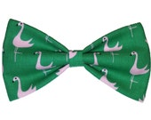 Flamingos Bow Tie - Green Dog Bow - Cat Bowtie - Girls Hair Clip - Mens Accessory