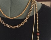 Vintage 1970s 1980s Gold Tone Set of Chain Necklaces