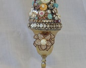 SALE! Small Upcycled Vintage Jewelry Assemblage Topiary in Silver Cordial Collage Mosaic