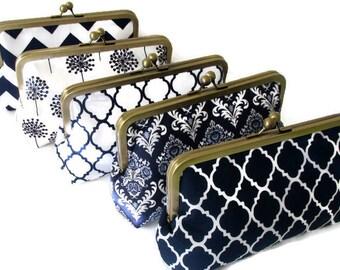 Navy Bridesmaid Clutch, Bridal clutch purse, Bridesmaid Gift, Wedding Accessory, Bridal Clutch