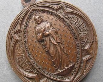 Jesus Antique Religious Medal French Three Sacraments Pendant Signed Penin Circa 1800s   SS110