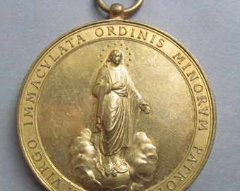 Virgin Mary Antique Religious Medal Blessed Martyrs Agathangeli And Cassiani Capuchin Pendant  SS282