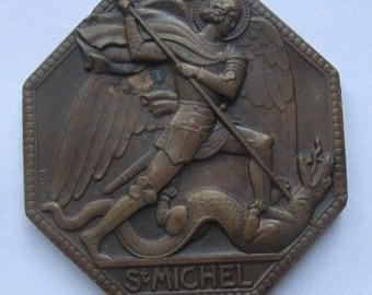 Vintage Saint Michael The Archangel Religious Art Medal P Turin French Bronze Art Deco