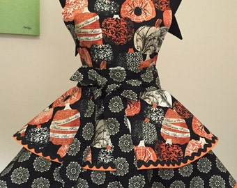 Vintage Inspired Woman's Etched Autumn Apron with Fluer de lis Pumpkins and Spiders