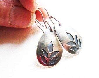 Silver leaf earrings  - metalwork earrings - pierced silver earrings - abstract leaf earrings - artisan crafted