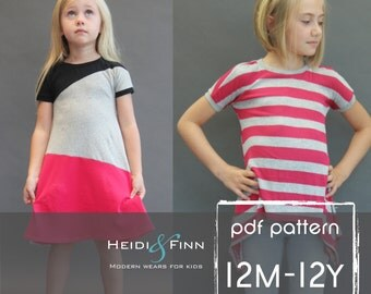 NEW Kopic tunic dress PDF sewing pattern and tutorial 12m-12y  tunic dress jumper  easy sew