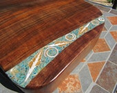 Large Cutting/serving board 2-   Figured California Black Walnut  with seashell, mixed turquoise, chrysocolla, apatite, and mica