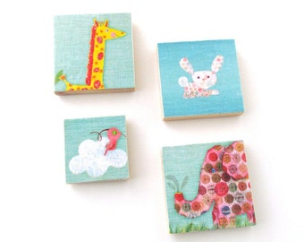 Animal Magnets - Bird, Elephant, Giraffe and Rabbit Magnet set - Set of Four Decoupaged Animal Magnets