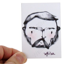 Geometric Macho Man  Artist Trading Card - Bearded Hipster Art Print - ACEO, Artist Trading Cards