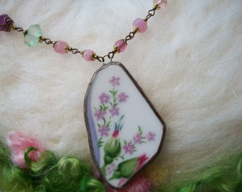 Broken China Necklace with Long Chain Handmade Bezel Vintage Rose Bud Pattern and Beaded Chain Rose Buds and Wild Flowers Glass Beads