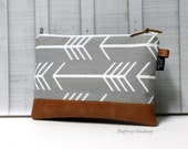 Grey Arrows and Faux Vegan Leather - Zippered Clutch / Accessory Pouch - Make Up Bag - BagEnvy Handbags