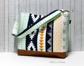 Aztec Horizon with Vegan Leather - Messenger Tote Bag /  Diaper Tote - Medium / Large Bag SALE