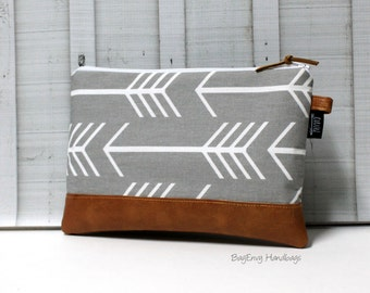 Grey Arrows and  Vegan Leather - Zippered Clutch / Accessory Pouch - Make Up Bag - BagEnvy Handbags