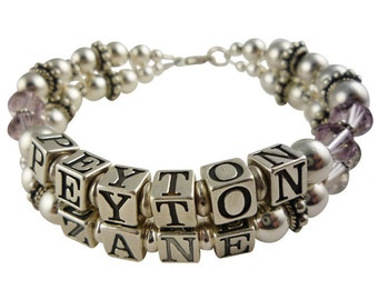 Double strand name bracelet for mother- 1 to 10 names, single up to 4 strands. Choose crystal birthstones and personalization, custom mom